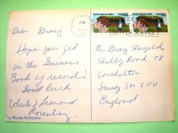 "USA 1989 Postcard ""cows Of Virginia (color Passed Away)"" To England - South Dakota House - Flower - Etats-Unis"