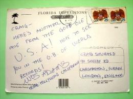 "USA 1990 Postcard ""Seven Mile Bridge - Florida"" To England - Eagle And Shield (adhesive) - Etats-Unis"