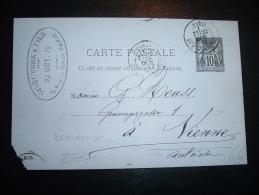 CP ENTIER SAGE 10C OBL. 7E/22 OCT 79 PARIS RUE D'ENGHIEN (75) POUR L'AUTRICHE - Postmark Collection (Covers)