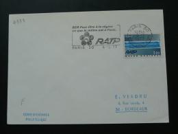 RER Métro Subway 1977 Paris Flamme Concordante Sur Lettre Postmark On Cover - Tramways