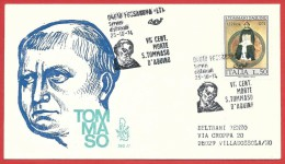 ITALIA REPUBBLICA FDC VENETIA - 1974 - 7º Centenario Della Morte Di San Tommaso D'Aquino - ANN. FOSSANOVA DEDICATO - 6. 1946-.. República