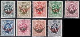 """Année 1929  COB S7 à S15** - """"Lion Héraldique"""" - Surcharge Noire Ou Rouge (roue Ailée) - Cote 140,00€ - Service"""