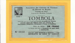 BAYEUX (14) / BILLETS DE LOTERIE /BILLET DE LOTERIE/Tombola Au Profit Des Enfants Pauvres De Courvaudon,Dampierre Etc... - Billets De Loterie