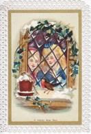 VICTORIAN  ERA  1870´s   CHRISTMAS  CARD   SCALLOPED  BORDERS - Christmas