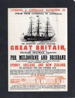 48628  Regno Unito,  Liverpool To  Australia, The Celebrated Auxiliary Steam-Ship, On Saturday The 25th October 1873, VG - Liverpool
