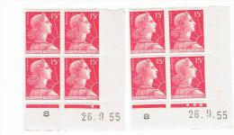 15f Muller Yvert 1011, Paire AB+AC Du 26.9.55, ** - Hoekdatums
