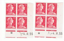 15f Muller Yvert 1011, Paire T+U 1 Du 4.8.55, ** - Hoekdatums