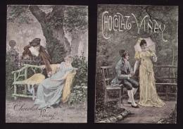 2 Jolies Images Chocolat Vinay (Ivry-sur-Seine), Début XXe Siècle, Couple Romantique - Chocolat