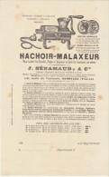 Gironde, Bordeaux, Prix Courant Des Hachoirs-malaxeurs J. Sénamaud & Cie - Alimentos
