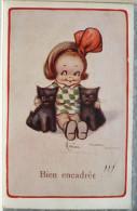 """Litho Illustrateur SALMON  FLORA WHITE Fille Fillette Et Duo Chats Chat Chaton """" Bien Encadré """" Ecrite 1921 - Cartoline Umoristiche"""