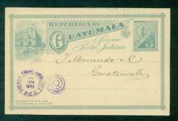 EP Illustré De 1892 Cachet Violet Agence Postale, Verso Cachet Violet 29 Juillet 1892 - Guatemala