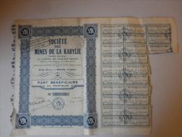 Actions Titres MINES DE LA KABYLIE émis Le 4 Mai 1957 à BOUGIE Algérie - Afrique