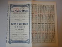 Actions Titres Les Pétroles DOrient émis Le 19 Juillet 1923  à Paris - Pétrole