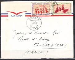 Lettre Cachet  ABECHE  Tchad  Le 11 VI 1970  Pour 56 LANDEVANT Par Avion PEINTURES RUPESTRES X 2 - Tsjaad (1960-...)