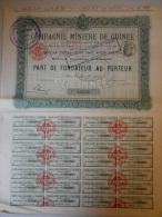 Actions Titres COMPAGNIE MINIERE DE GUINEE émis Le 2 Mai 1907 à Paris - Afrique