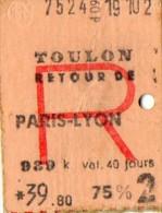 TICKET SNCF TOULON PARIS LYON 1962