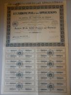 Actions Titres LE CARBONE PUR Et Ses APPLICATIONS émis Le 14 Juin 1927 - Industrie