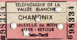 TICKET TELEPHERIQUE DE LA VALLE BLANCHE CHAMONIX  1962