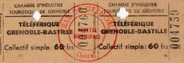 TICKET TELEPHERIQUE GRENOBLE-BASTILLE  1958