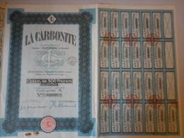 Actions Titres LA CARBONITE émis Le 1 Juin 1928 à GENNEVILLIERS - Industrie