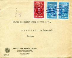 Brief VENEZUELA 1938 - 3 Fach Frankiert, Gelaufen Von Caracas > Langnau Schweiz - Venezuela