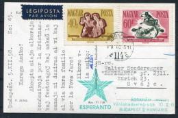 1958 Hungary Budapest Esperanto Christmas Postcard - Zurich Switzerland - Esperanto