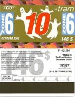 CARTE ABONNEMENT TRAM ZONE 6 AMT OCTOBRE 2005 MONTREAL CANADA 146 FANTOMES