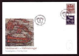 ART ROCK CARVINGS FELSZEICHNUNGEN UNESCO WORLD HERITAGE SWEDEN SUEDE SCHWEDEN 2001 MI 2215 2216 FDC History Archaeology - Arqueología