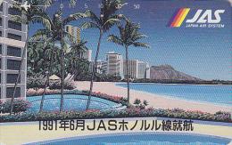 Télécarte Japon - HAWAII / Honolulu Beach - JAL JAS Airlines Japan Phonecard - USA Rel Telefonkarte Avion Site - 130 - Avions