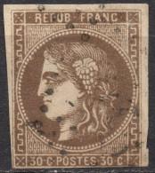 FRANCE Oblitéré , N° 47e , Emission De Bordeaux 30 Cts Variété R Relié Au Cadre Cote 500€ 47 - 1870 Emisión De Bordeaux