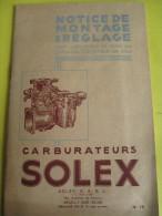 Notice  De Montage Et Réglage / N° 15/ Carburateurs SOLEX/ Neuilly/ 1948    AC101 - Motos