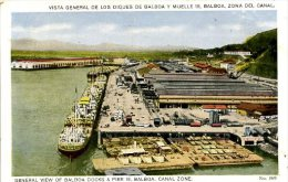 CANAL ZONE - VIEW OF BALBOA DOCKS And PIER 18 - Panama
