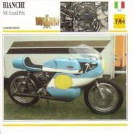 Bianchi 500 Grand Prix  (1964)  -  Moto De Course  -  Ernesto Brambilla   - Fiche Technique/Carte De Collection - Motociclismo