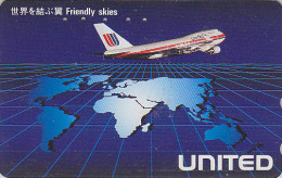Télécarte Japon / 110-138678 - AVION UNITED & Map - Air Plane Japan Phonecard USA Airlines - FLUGZEUG Telefonkarte - 537 - Avions