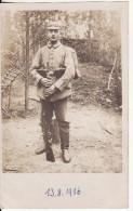 Carte Postale Photo Militaire Allemand Casque-Cartouchière-Fusil -Sac à Dos - 13-08-1916 -stempfel-Feldpost - Personaggi