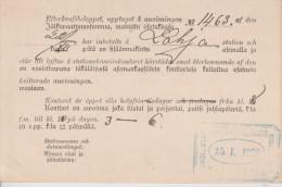B8 Finnland Finland Finlande Suomi 1900 Eisenbahn Benachrichtigung über Ankunft Von Waren - Storia Postale