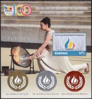 ROMANIA, 2014, 100 YEARS OF OLYMPISM , Olympic Games, Flag, Sport, Souvenir Sheet, Silver, Gold, Bronze Foil, LPMP 2039a - Postzegels