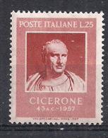 ITALIA 1957 CICERONE SASS. 821 MLH VF - 6. 1946-.. República
