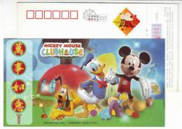 Disney Mickey Mouse And Donald Duck,Animation Film,China 2008 Lunar New Year Of Of The Rat Greeting Pre-stamped Card - Stripsverhalen