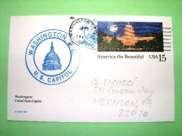 "USA 1990  Pre Paid Postcard ""Capitol"" From Washington To Herndon - Etats-Unis"
