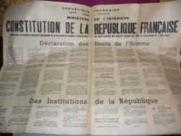CONSTITUTION DE LA REPUBLIQUE FRANCAISE , DECLARATION DES DROITS DE L HOMME , REFERENDUM DU 05 MAI 1946