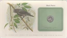 "Seychelles Carte + Piece Monnaie ""Bird Coins Of The World"" Franklin Black Parrot Perroquet Noir 25 Cents 1977 - Seychelles"