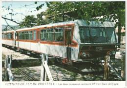 04 - DIGNE - Les Deux Nouveaux Autorails CFD En Gare - Chemins De Fer De Provence - JC A101 - Digne
