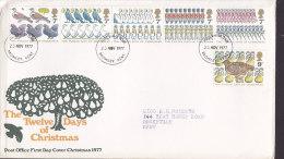 Great Britain Ersttags Brief FDC Cover 1977 The Twelve Days Of Christmas Complete Set !! - 1971-1980 Dezimalausgaben