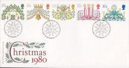 Great Britain Ersttags Brief FDC Cover 1980 Christmas Weihnachten Complete Set !! - 1971-1980 Dezimalausgaben