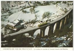 04 - MEAILLES - Le Viaduc En Courbe Et L'ancien Moulin - Chemins De Fer De Provence - JC A86 - Train - Andere Gemeenten
