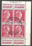 MULER  DOUBLE PAIRE DE CARNET PUB GRAMMONT N� 1011  OBL TB