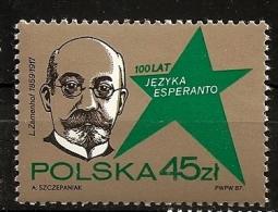 Pologne Polska 1987 N° 2913 ** Langue, Espéranto, Zamenhof, Médecin, Ophtalmologiste, Communication, Linguisme - Unused Stamps