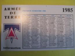 Calendrier De Poche / Armée De Terre / Centre De Documenatation De L'Armée De Terre/ Chartres/ 1985  CAL188 - Documents