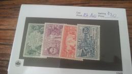 LOT 222646 TIMBRE DE COLONIE COTE SOMALIS NEUF* N�137 A 140 VALEUR 30  EUROS